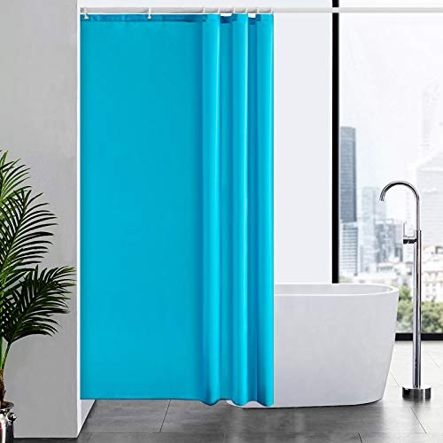 Furlinic Duschvorhang Textil Anti-schimmel Wasserdicht Waschbar Badvorhang aus Polyester Stoff Aquamarine 120x200cm mit 8 Duschvorhangringen.