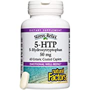 Natural Factors - Stress-Relax 5-HTP 50mg, Naturally Supports Emotional Well-Being by Promoting Healthy Serotonin Levels, 60 Enteric Coated Caplets