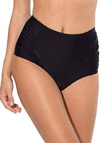 Smart & Sexy Women's High-Waisted Shaping Bikini Bottom with Side Ruching, Black Hue, M