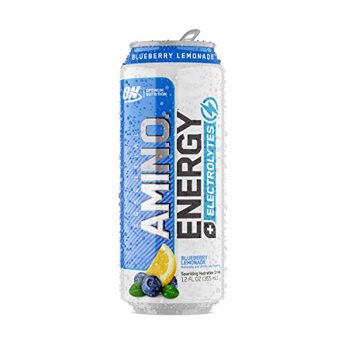 Optimum Nutrition Essential Amino Energy Plus Electrolytes Sparkling Hydration Drink, Blueberry Lemonade, Keto Friendly BCAAs, 12 Count