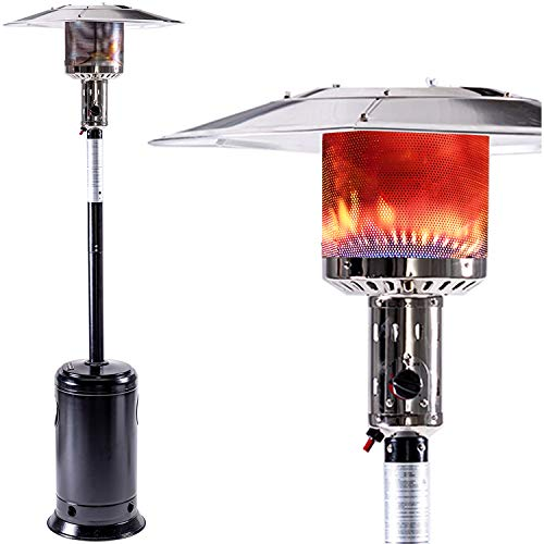 LEGACY HEATING 88inch standing heaters outdoor with wheels , stainless steel burne, Gas Propane Patio Heater for outdoor garden use, Hammered Black, 47000BTU, Powder Coated Finish