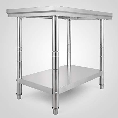 VEVOR Mesa de Trabajo en Cocina de Acero Inoxidable 60x90x80cm Mesa para la Preparación de Comida de Grado 2x2 FT para Restaurante Mesa con Estante Inferior