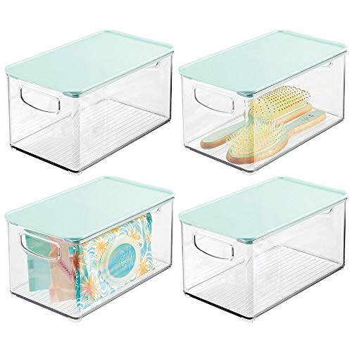 mDesign Plastic Bathroom Stackable Storage Bin Box with Handles,