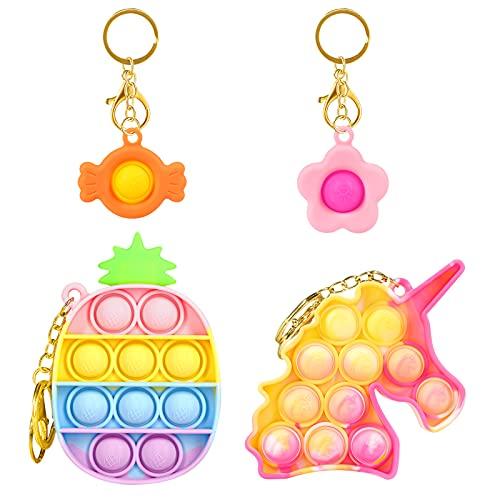 HiUnicorn Mini Keychains Pop Sound Fidget Toys Pack for Girls, Small Push Bubble Poppers Unicorn...