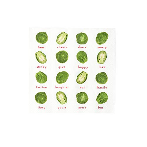 Talking Tables Christmas Paper Napkins Novelty Sprouts 20 Pack, Green Xmas Dinner Lunch Party