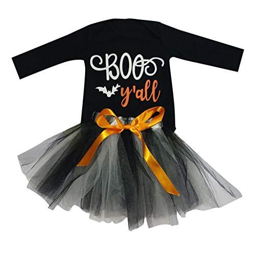 Muium Ensemble Bebe Garçon Fille Hiver,Toddler Baby Girls Halloween Lettre Barboteuse Tops Manches Longues + Jupe Tulle Bowknot pour 0-2 Ans