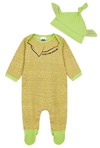 Star Wars Ropa Bebe Niño Niña, Pijama Bebe de Baby Yoda, Body Bebe 100% Algodon, Pijama Entero con Gorro, Regalos para Bebes Niño Niña 0-24 Meses (Verde, 3-6 Meses)