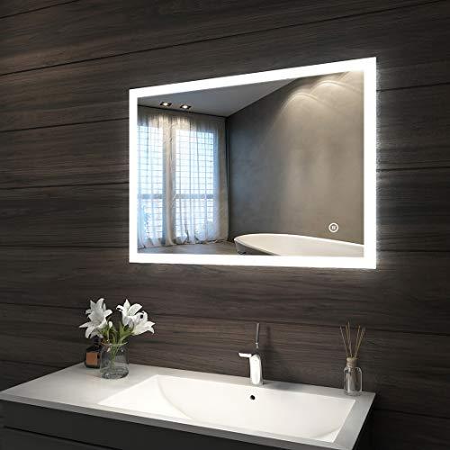Badspiegel mit LED Beleuchtung 80 x 60 x 4,5 cm, Badezimmerspiegel Wandspiegel mit Touchschalter und beschlagfrei IP44 energiesparend, kaltweiß