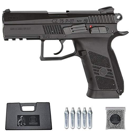 Ecommur. CZ 75 P-07 Duty   Pistola de perdigones (Bolas BB's de Acero) de Aire comprimido semiautomática 4,5mm + maletín + balines y CO2