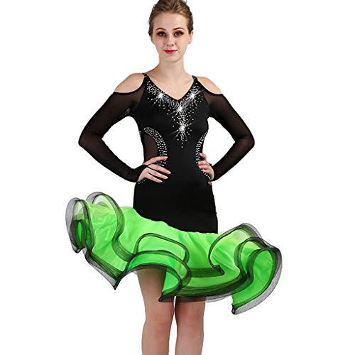 Rhinestone Latin Dance Performance Dresses Para Mujeres Simple Elegante Sin Tirantes Ango Social Dance Wear Competencia Disfraz Disfraz (Color : Green, Size : M)