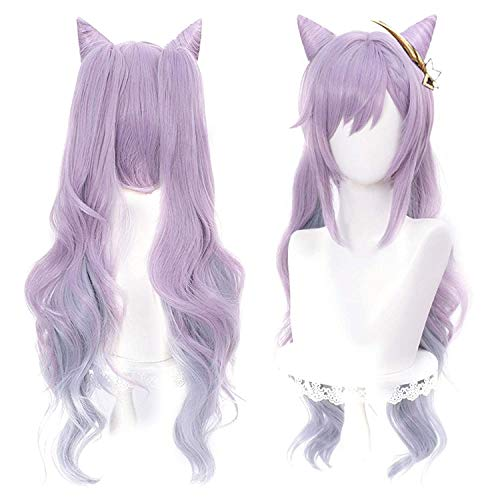 SL Pastel Purple Pigtails Wig with Horns for Keqing Genshin Impact Game Anime Cosplay Hair Wigs with Twin Ponytails + Cap