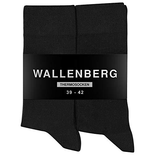 Wallenberg Thermo Socken Damen/Herren Baumwolle mit Frotteesohle 5 Paar   47-50   Schwarz
