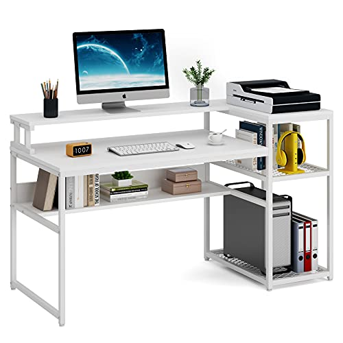 Tribesigns Computer Desk with Hutch and Storage Shelves, 63 inch Large Industrial Home Office Desk Study Writing Table Workstation with Printer Stand and Bookshelf (White)