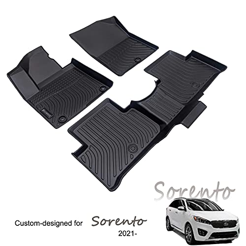 KELCSEECS Durable Car Mats for Kia Sorento Gaosline 5 Seat 2021 All Weather Car Foot Mat Full Set…