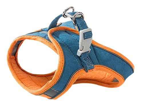 Crea -Pettorina per gatti e cani di piccola taglia con guinzaglio. Imbracatura regolabile riflettente,leggera e morbida. (M, Arancio e blu)
