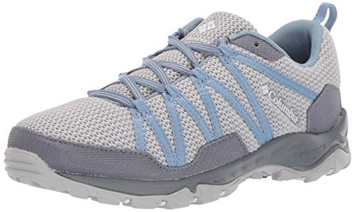 Columbia Women's Firecamp Knit Hiking Shoe, Grey ice, White, 9.5 Regular US