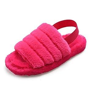 Cxypeng Peluche Zapatos Memory Foam,Zapatillas con Suela Antideslizante de Suela Gruesa y Piel, Sandalias de cuña cálidas-Rosa Red_36-37,Zapatillas de Piel Sintética Suave para Mujer