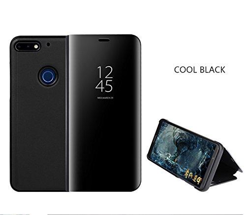 Huawei Honra 10 Lite Capa Luxo Espelho Flip Capa Case Smart View para Huawei Honor 10 Lite (Black)