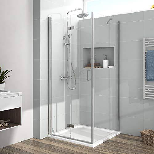 EMKE Duschkabine 75 x 90 x 195cm Eckeinstieg Falttür Dusche 180º Klappbar Duschwand Duschabtrennung mit Seitenwand 6mm ESG Sicherheitsglas mit beidseitiger Nano Beschichtung