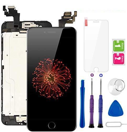 Display per iPhone 6 Plus Schermo LCD Touch Screen Nero Vetro 5,5'Digitizer Parti di Ricambio (con Home Pulsante, Fotocamera, Sensore Flex) Kit Smontaggio trasformazione Completo di Ricambio