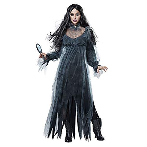 Zylione Halloween Anzug Damen Cosplay Kostüm Geister Kleid Dunkler Stil Kleid Hut Umhang und...
