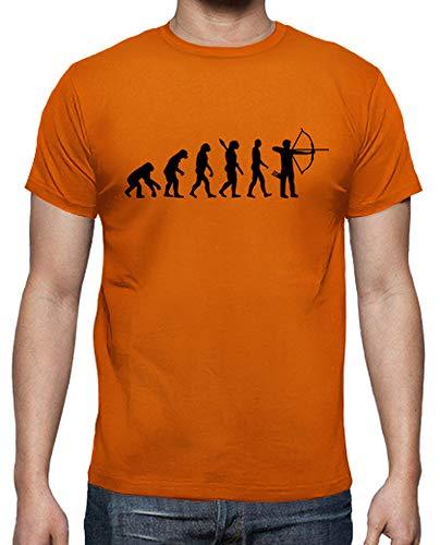 latostadora - Camiseta Tiro con Arco Evolución para Hombre Naranja XXL