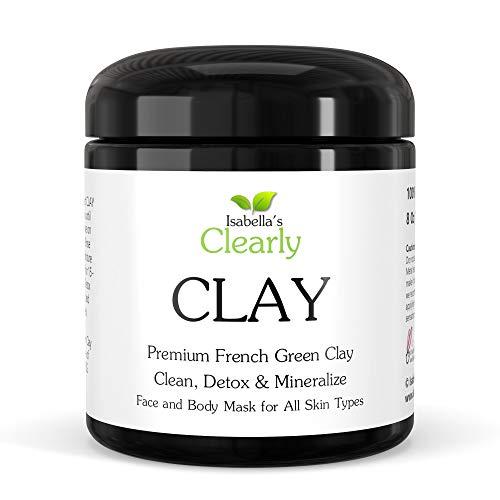 Clearly CLAY, masque facial pour nettoyer les pores en profondeur, hydrater, adoucir la peau | 100% pure argile verte française pour l'acné, les points noirs, la peau sèche