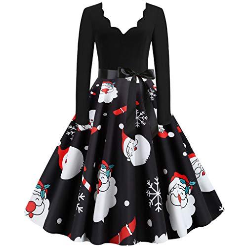 GATIK Damen Weihnachtskleider Vintage Langarm 1950er Jahre Hausfrau Abend Party Abendkleid Damen Bow Knot V-Ausschnitt Swing Aline Knielange Kleider(L,Schwarz-4)