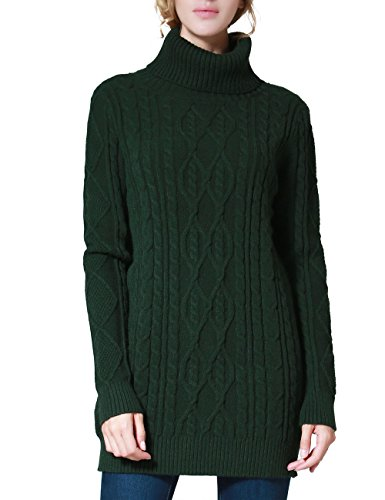 PrettyGuide Women's Long Sweater Turtleneck Pullover Tunic Sweater Tops XL Green