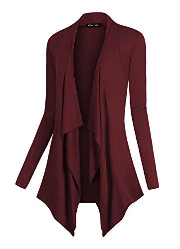 Urban CoCo Women's Drape Front Open Cardigan Long Sleeve Irregular Hem (XL, Windsor Wine)