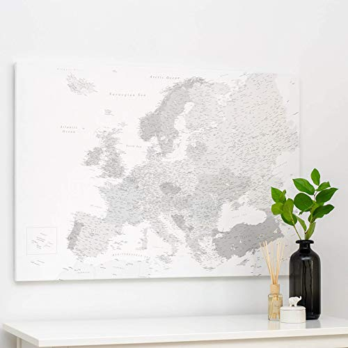 Europäische Kontinent Karte - Leinwand Karte Pinnwand mit Pins - Detailliert Europakarte Kork Zum Markieren - Kunstdruck auf Echtholz Keilrahmen - 3 Größen zur Auswahl - Grau & Weiß