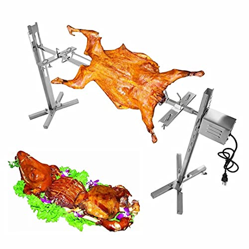 Godchoices BBQ Rotisserie Grill Roaster Rotisserie Kit 15W Stainless Steel Outdoor Automatic Grill Rotisserie Large Grill Rotisserie Spit Roaster Rod Meat Fork for Picnic Party Camping