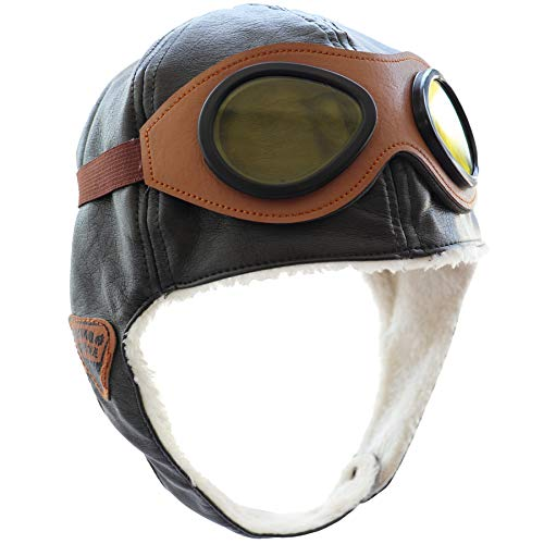 Happy Will Pilot Aviator Fleece Warm Hat Cap with Earmuffs for Kids Toddlers Brown