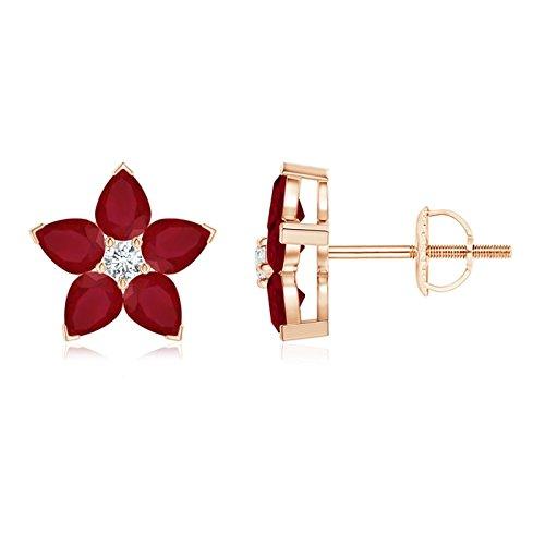 v-prong Set diamante y rubí Flor Stud Pendientes (4x 3mm Rubí)