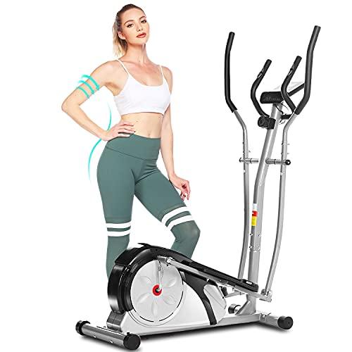 ANCHEER Crosstrainer, Crosstrainer für zuhause mit 8 Magnetwiderstandsstufen, Ellipsentrainer mit Pulsfrequenz-Griffen, Glatt, Leise Angetrieben, Maximale Kapazität Gewicht 120kg