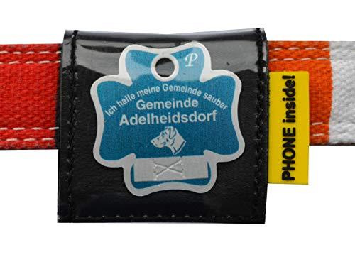 Josi.li Halsbandtasche für Hundemarken bis 38x38mm, Nappaleder, 5 Farben, bis 40mm Halsbandbreite, 3 Fächer für bis zu 4 Hundemarken, Adresskarton, Hinweislabel (Schwarz)
