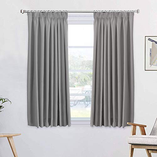 1 Pair Blackout Curtains Soft Solid Thermal Insulated Pencil Pleats Curtain Drapes Window Treatment Decoration for Bedroom/ Living Room, Energy Saving & Noise Reducting, 46' Width x 54' Drop, Grey