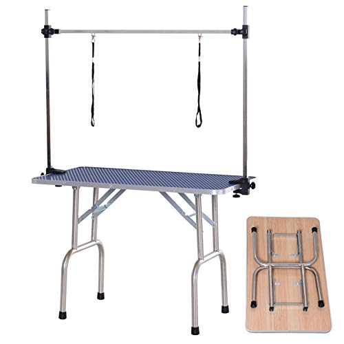 Pawhut Mesa de Peluquería para Mascotas Mesa de Aseo Plegable con Estante de Almacenamiento Estructura Acero Altura Ajustable 107x60x170 cm