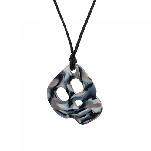 Chewigem textured & Smooth, Discreet, Chewable Necklace & Sensory Chew, stimming and fidget aid -Mild - Mod chewers - designed for Anxiety Reduction & Improved Focus. Created as a calming aid for Sensory Processing Difficulties - Autism - ADHD (Skull Pendant - Camo)