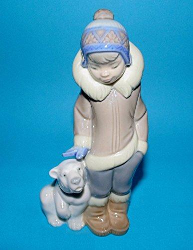 Lladro Eskimo Boy with Pet Porcelain Figurine