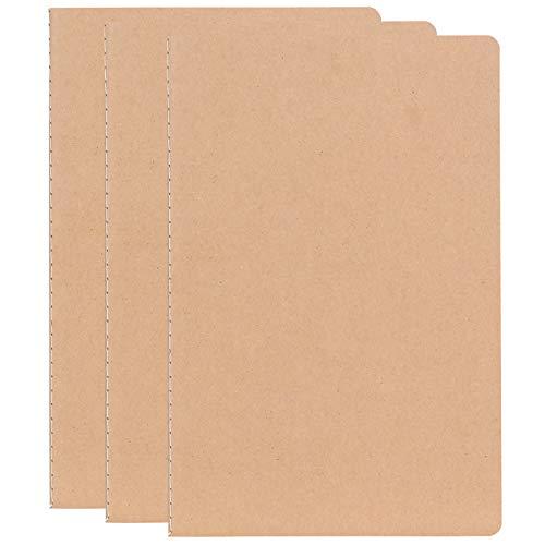 T-BOKO - Cuaderno de tapa de papel kraft A5 de piel marrón con tapa suave para administración, diario de línea/blanco, adecuado para viajeros, estudiantes y oficinas (3 unidades)
