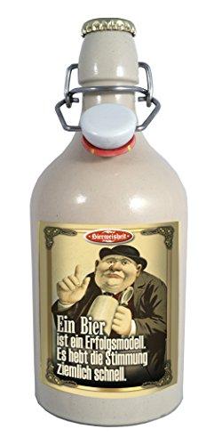 Ein Bier 0,75 Liter Tonflasche Bier mit Bügelverschluss