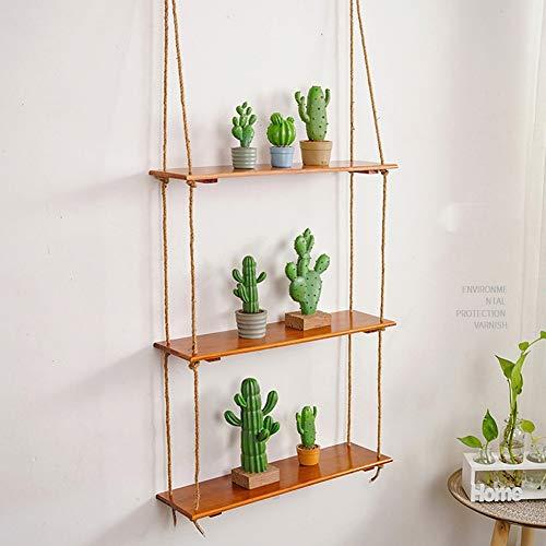 Creative opknoping touw Drijvende Planken 3 Lagen Muur Houten Flower Board Pot opslag Rack for balkon- 410