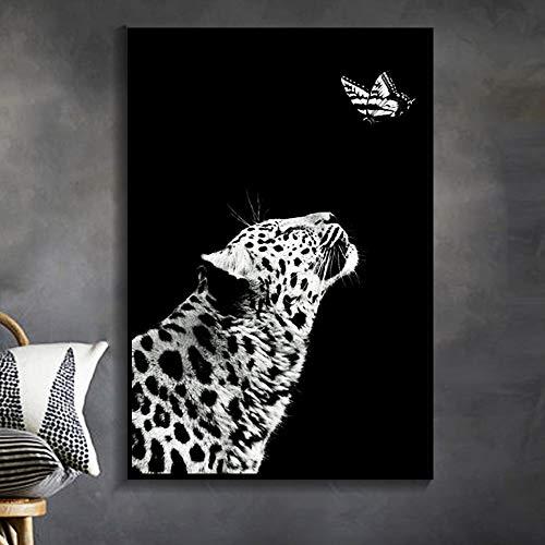 Cuadro en lienzo con animales en blanco y negro, cuadro artístico de pared para sala de estar, póster artístico, cuadro decorativo, impresión morden 40x50cm