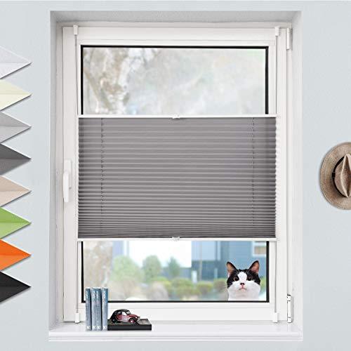 Grandekor Plissee Klemmfix Plisseerollo ohne Bohren (80x200cm Anthrazit), Fensterrollo Faltrollo Easyfix lichtdurchlässig Sicht- & Sonnenschutz für Fenster & Tür