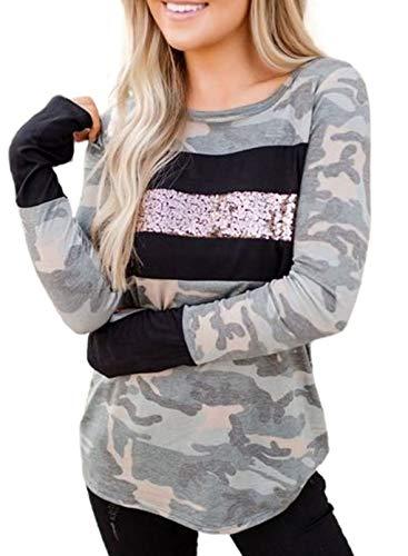 CORAFRITZ Sudadera de manga larga con diseño de camuflaje y lentejuelas, suave, con cuello redondo, para mujer