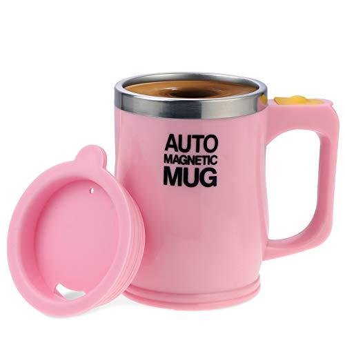 Elektrischer selbstrührender Kaffeebecher aus Edelstahl, automatische magnetische Tasse, Lebensmittelqualität, selbstmischende Tasse Kaffeetasse ( Pink, 400 ml )