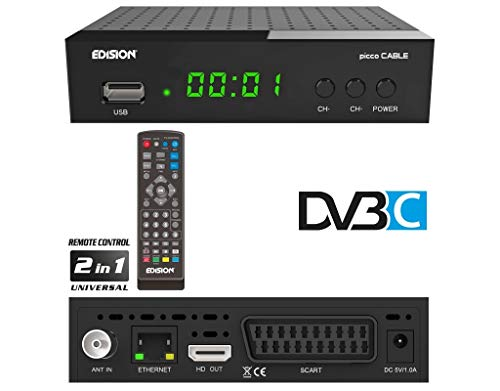 EDISION Picco Cable Full HD Kabel Receiver (1x DVB-C, LAN, USB, HDMI, SCART, S/PDIF, IR Auge, Kartenleser, 2in1 Fernbedieung) schwarz