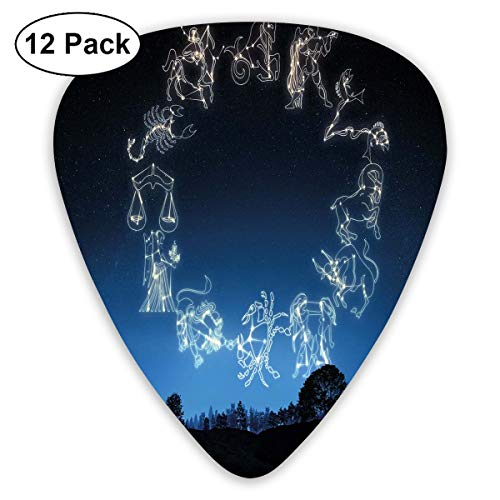 Guitar Picks12pcs Plectrum (0.46mm-0.96mm), Sketchy Zodiacal Sign Dots In Ombre Night Dark Sky In Forest Art Print,For Your Guitar or Ukulele