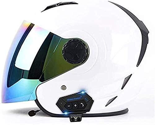 ZYQZYQ Bluetooth Motorcycle Face Open Face 3/4 Casco, CERTAMIENTO Certificado ECE Unisex Jet Casco Retro Crash Casco Medio Casco con Visera para Scooter Cruiser Motorcycle Casco